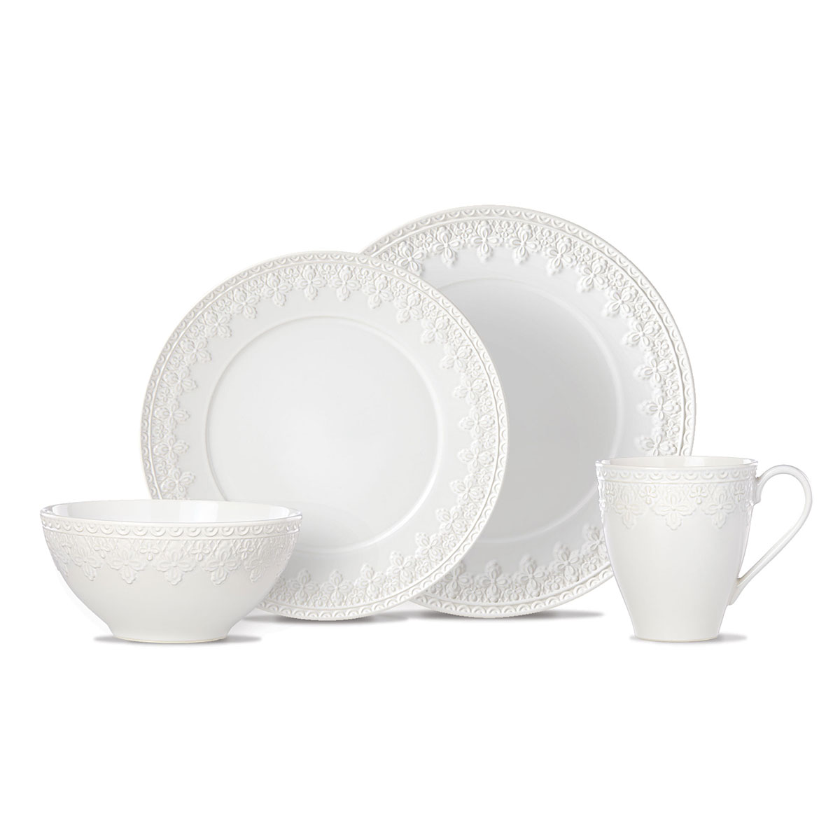 Lenox Chelse Muse Dinnerware Fleur White 4 Piece Place Setting