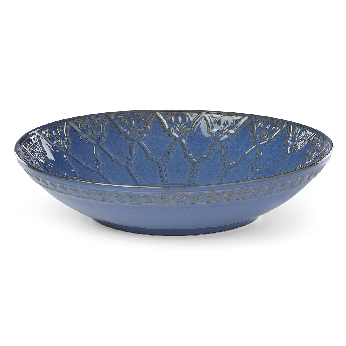 Lenox Global Tapestry Stoneware Low Bowl Blue 13""