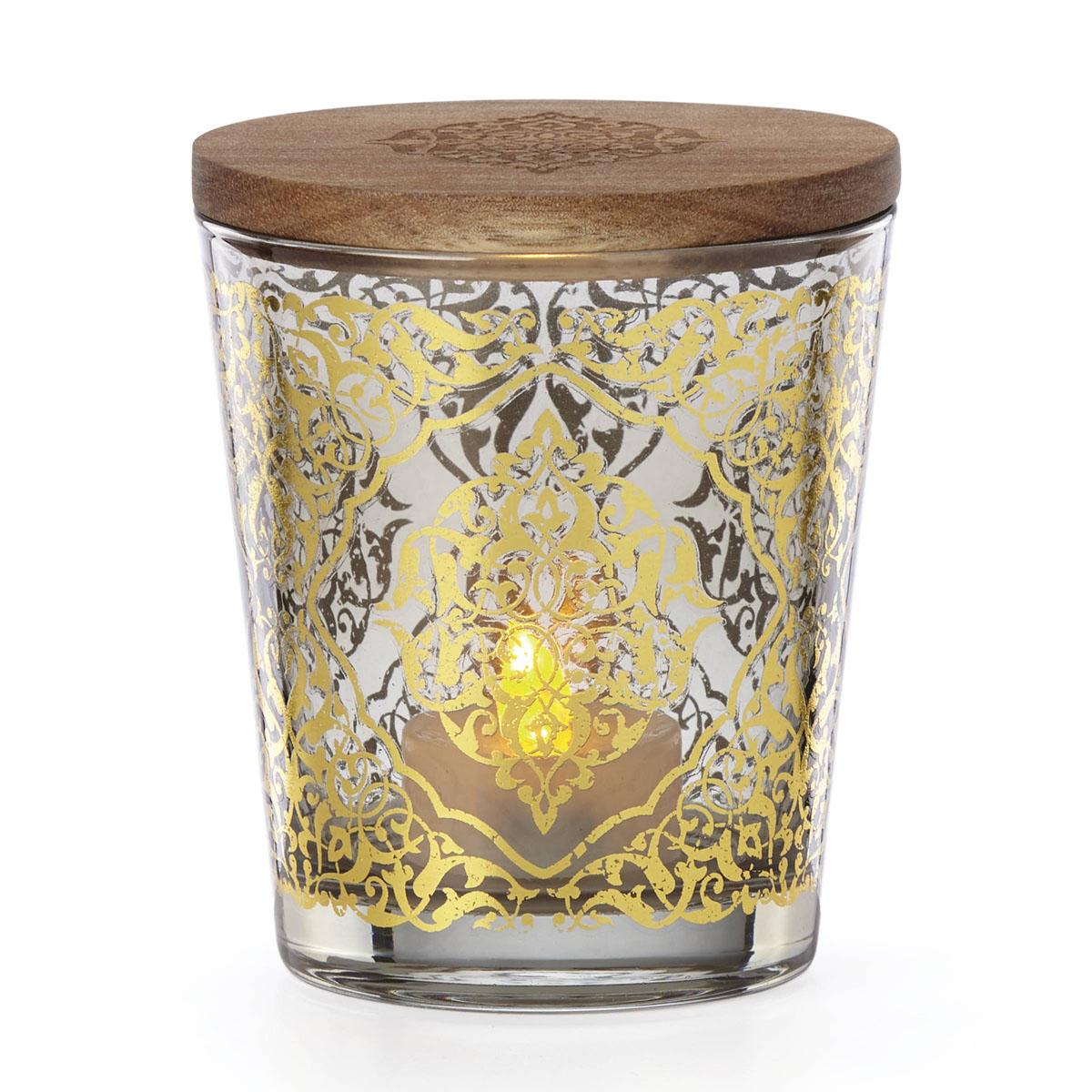 "Lenox Global Tapestry Glass Votive Smoke with Tealight 4.5"""