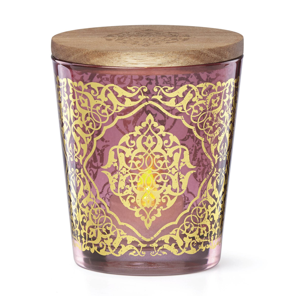 Lenox Global Tapestry Glass Votive Magenta with Tealight 4.5""