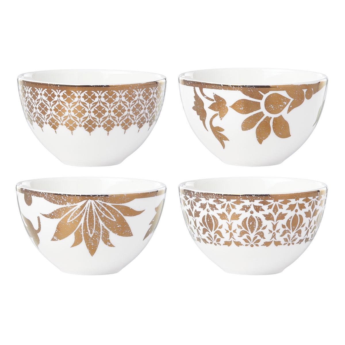 Lenox Global Tapestry Gold Dinnerware Dessert Bowl Set Of Four
