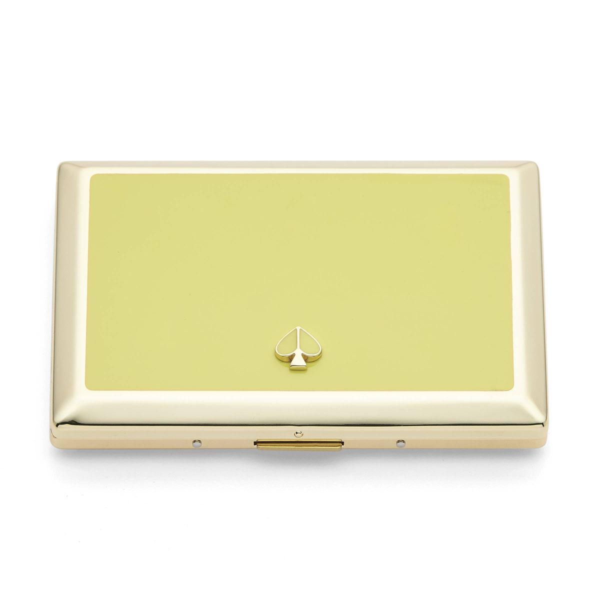 Kate Spade New York, Lenox Spade Street Gold Business Card Holder, Citron