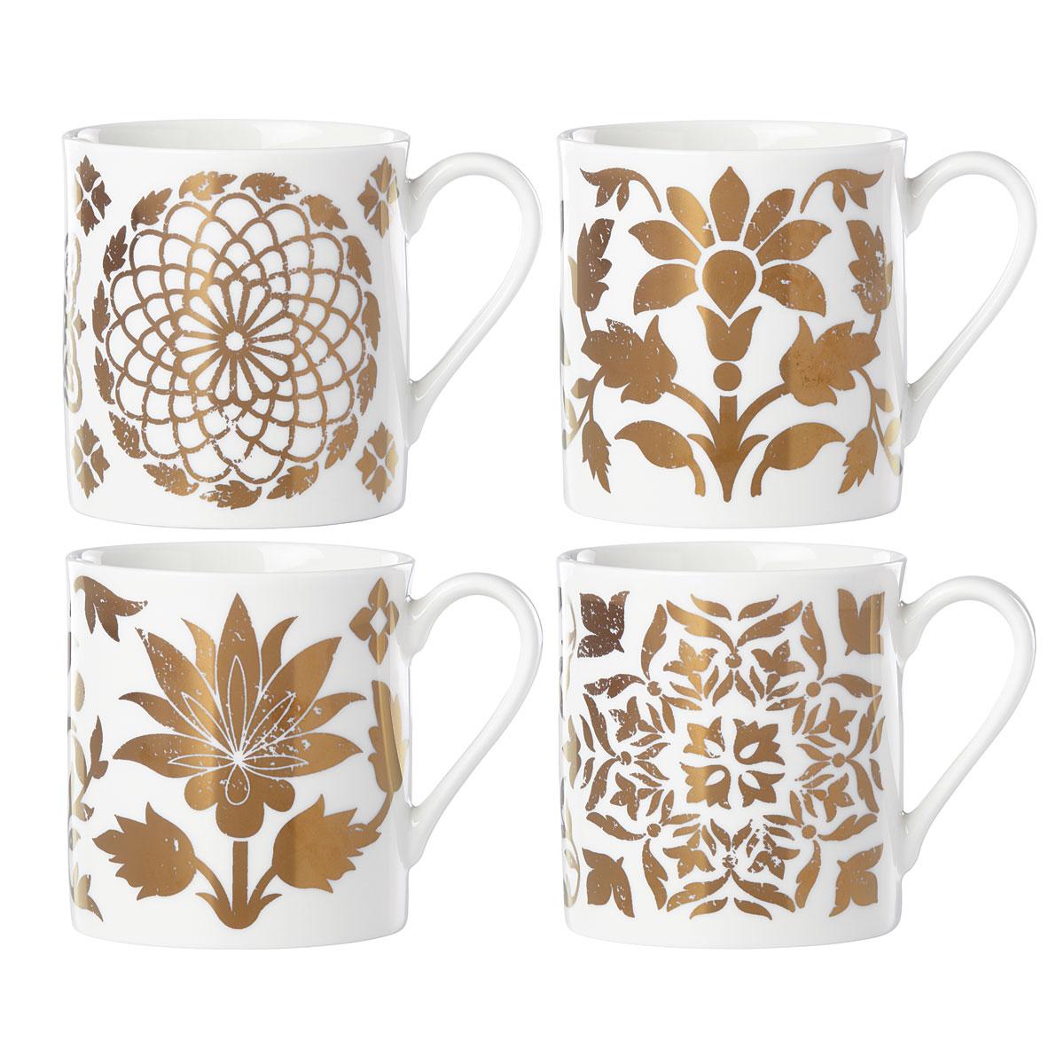 Lenox Global Tapestry Gold Dinnerware Dessert Mugs Set Of Four