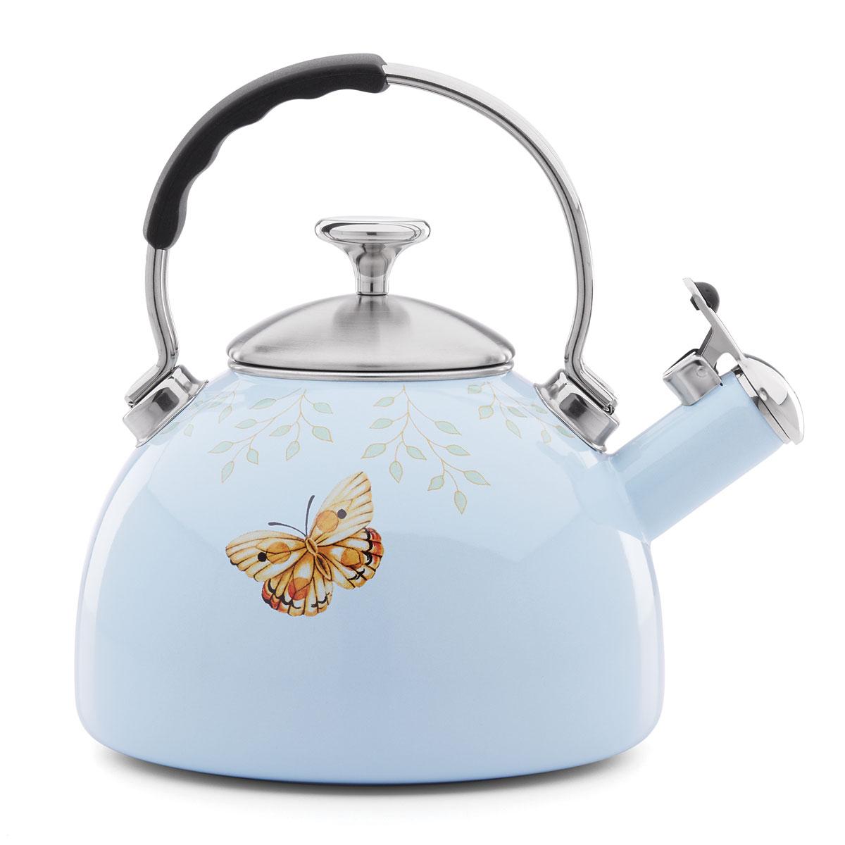 Lenox Butterfly Meadow Dinnerware Enamel Tea Kettle, Blue