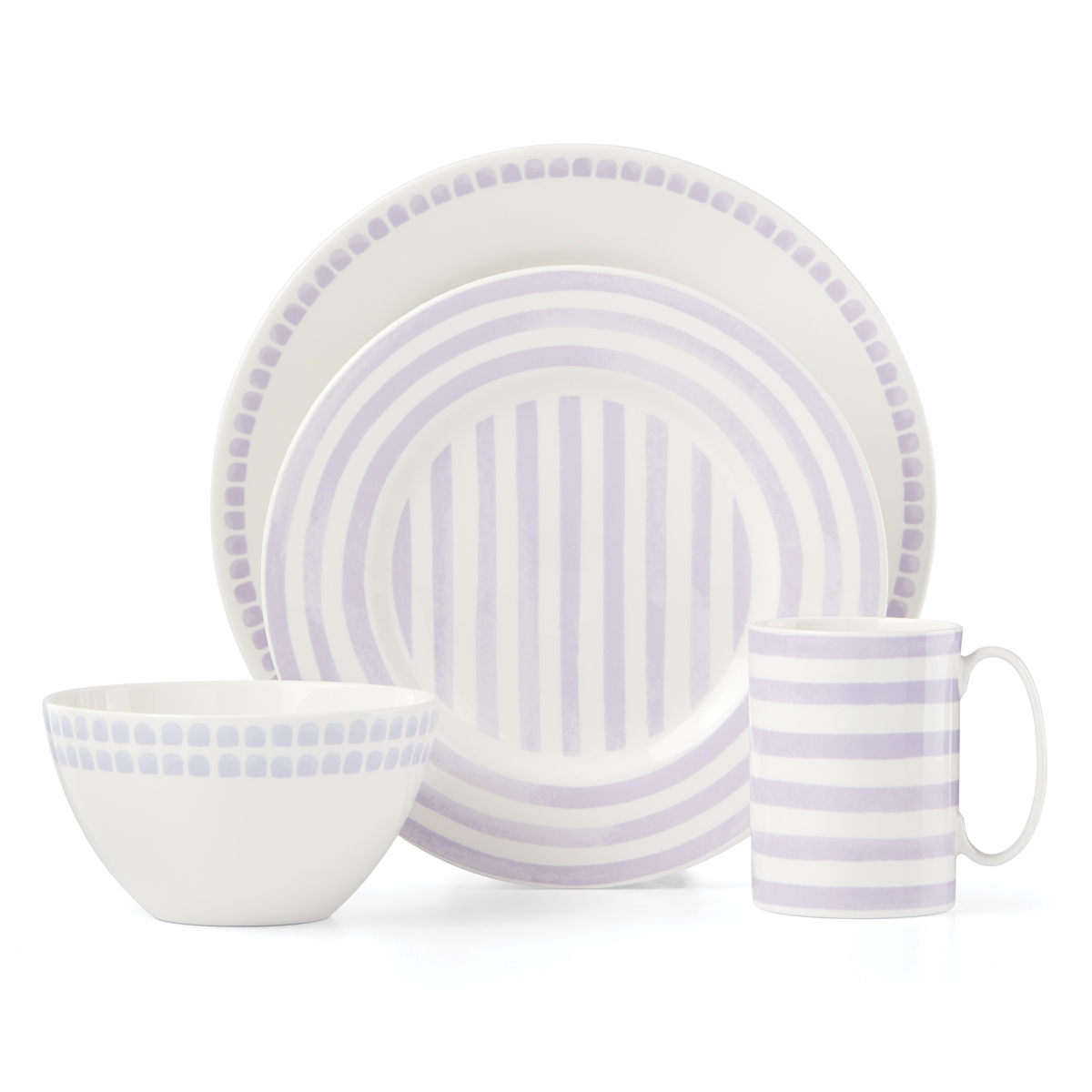 Kate Spade China by Lenox, Charlotte St North Lilac 4 Piece Place Setting
