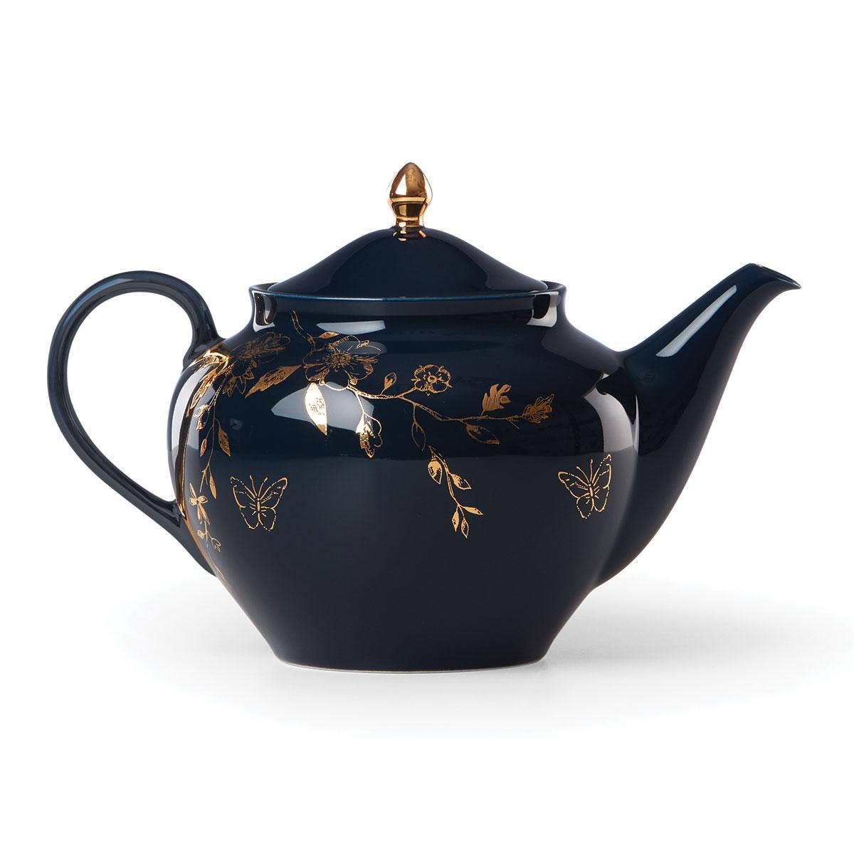 Lenox Sprig And Vine Dinnerware Teapot Navy