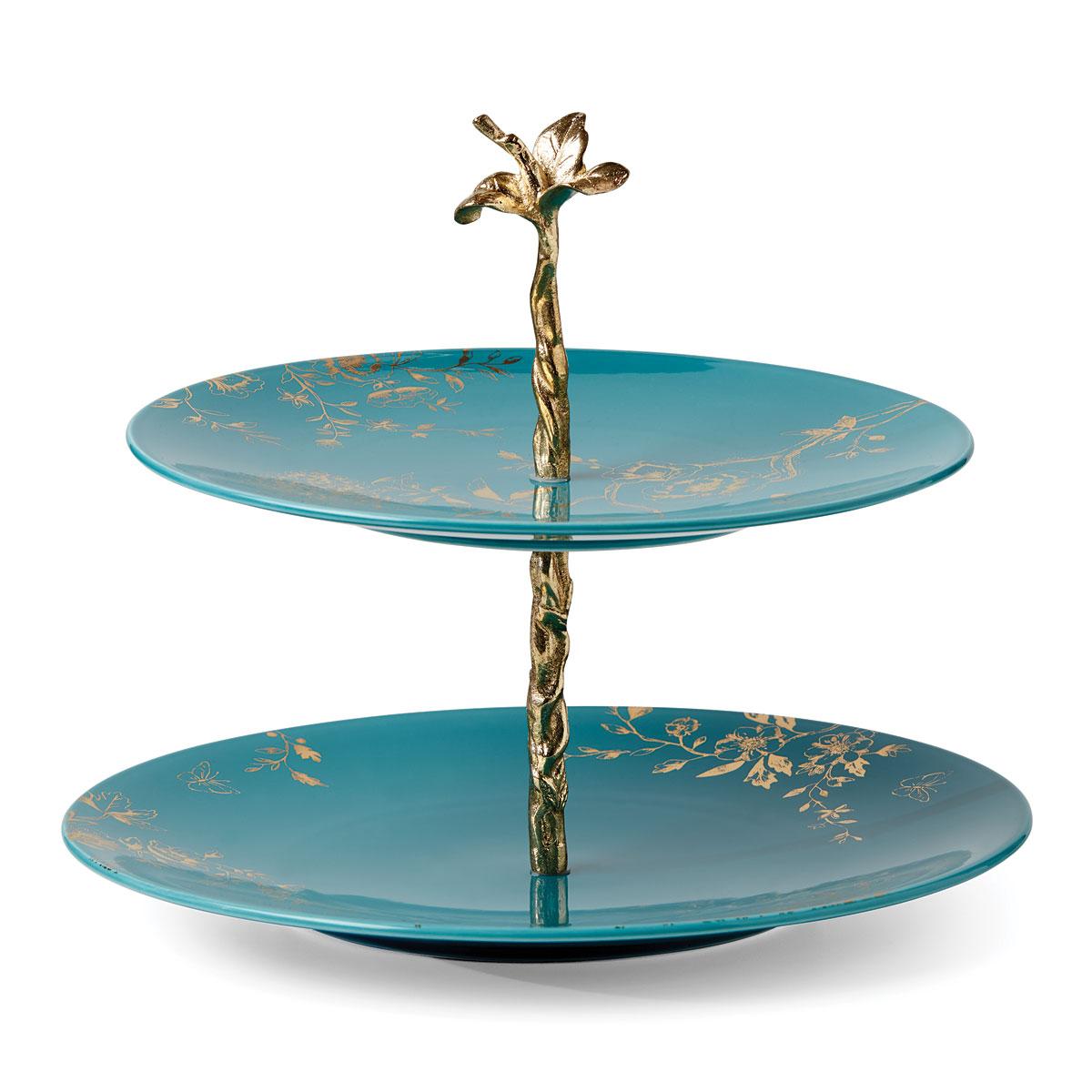 Lenox Sprig And Vine Dinnerware Tiered Server Turquoise