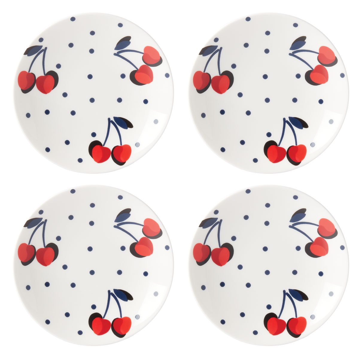 Kate Spade China by Lenox, Vintage Cherry Dot Tidbit Plate Set Of Four