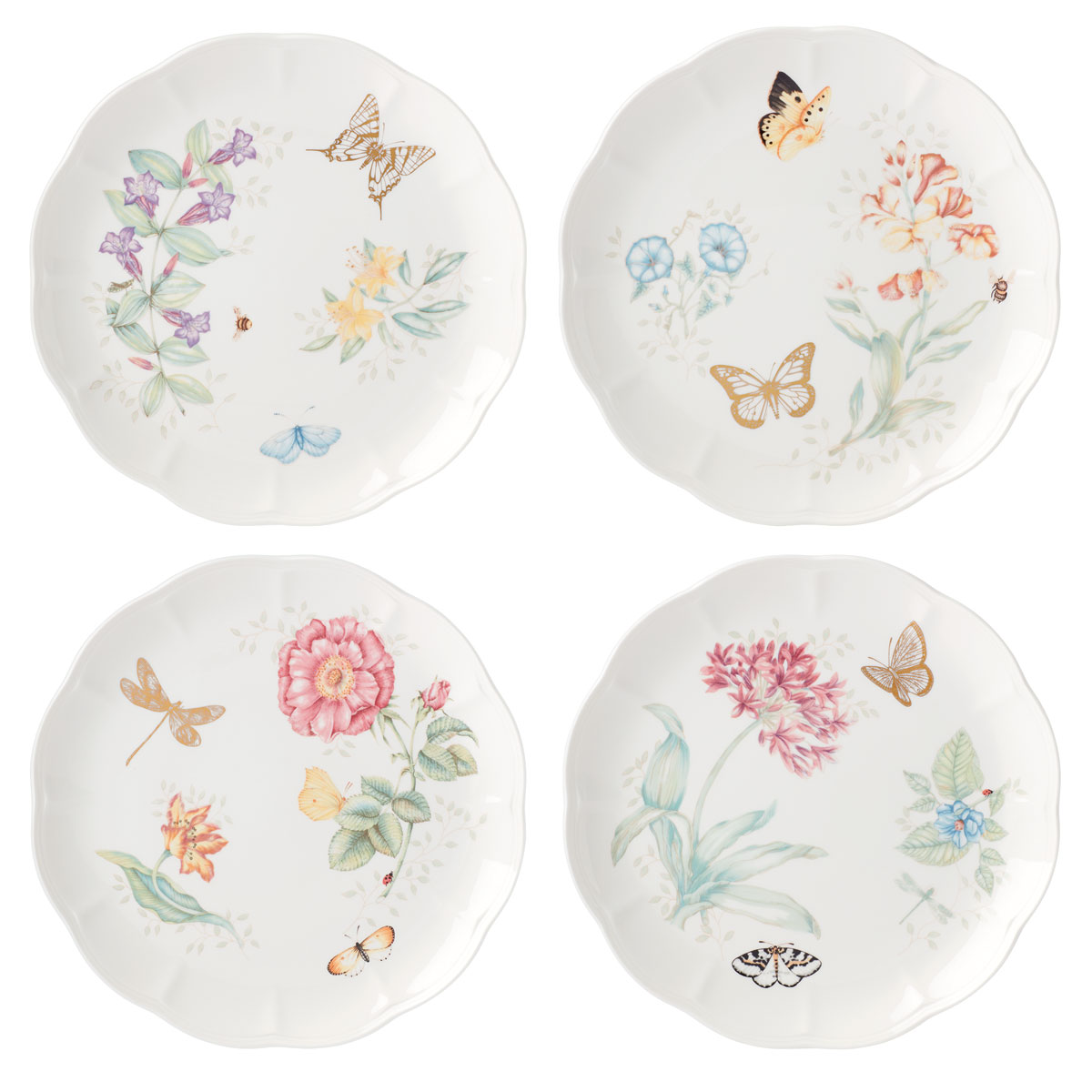 Lenox Butterly Meadow Gold Dinnerware Dinner Place Setting Of Four Gold