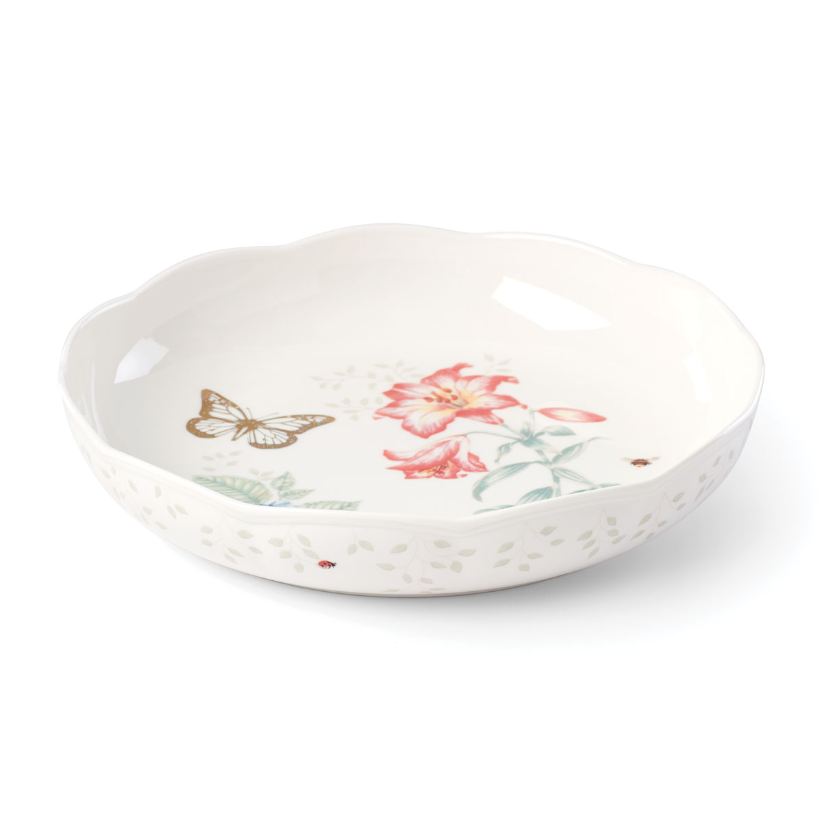Lenox Butterly Meadow Gold Dinnerware Low Serving Bowl Gold