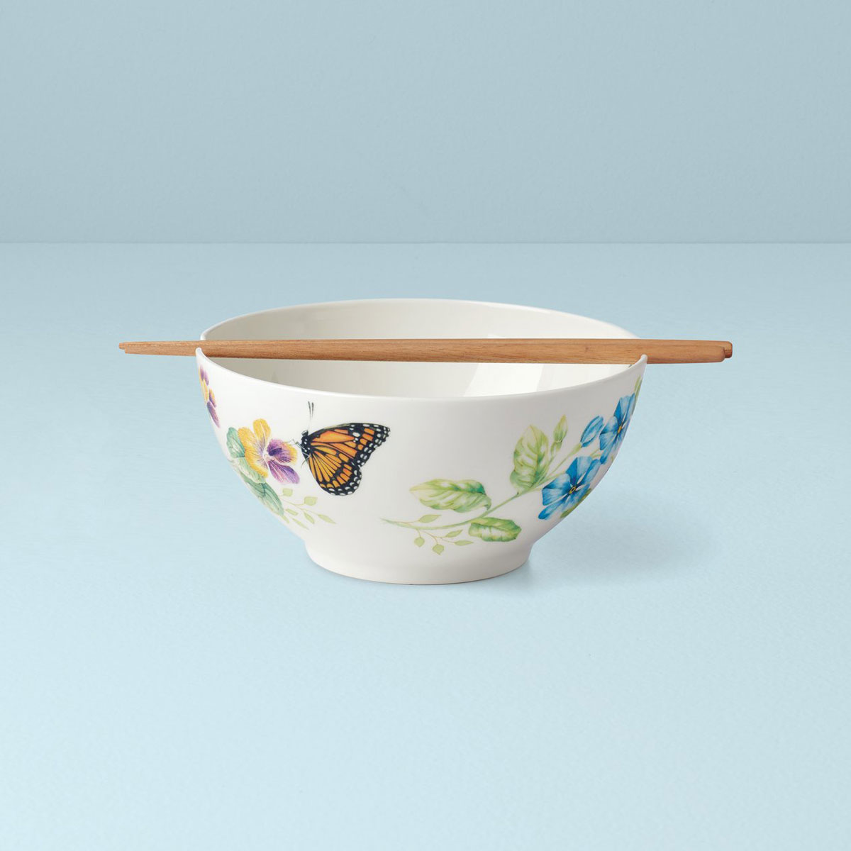 """Lenox Butterfly Meadow Noodle 7.25"""" Bowl With Chopsticks"""