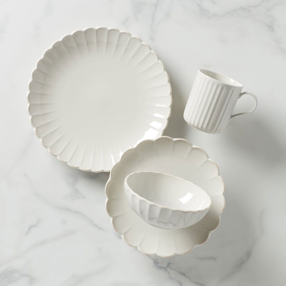 Lenox French Perle Scallop 4-Piece Place Setting