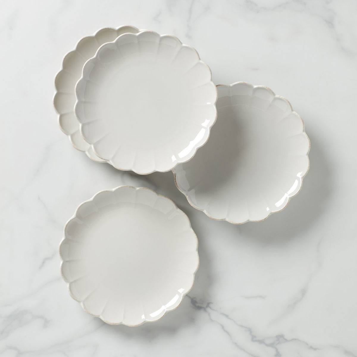 Lenox French Perle Scallop 4 Piece Accent Plate Set