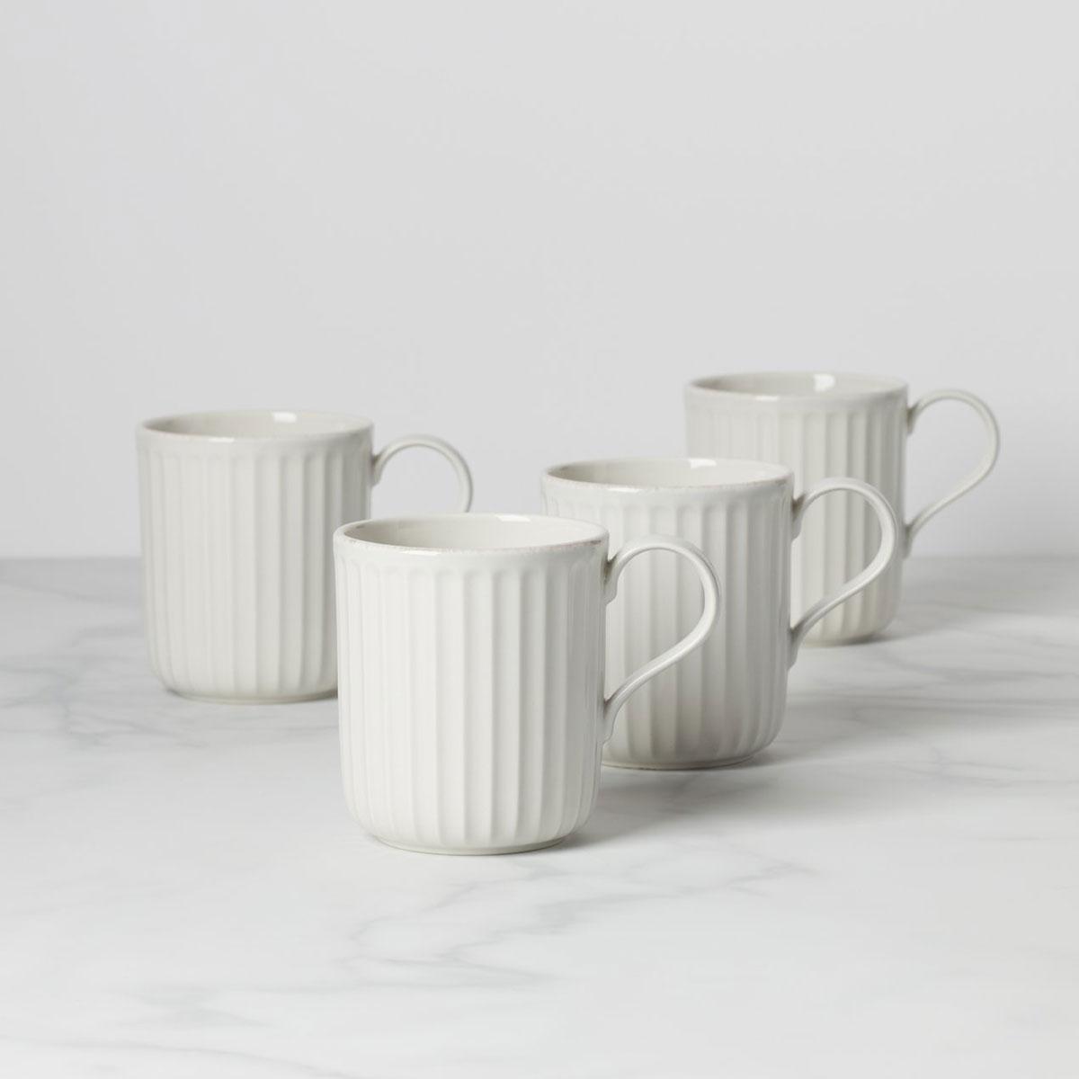 Lenox French Perle Scallop 4 Piece Mug Set