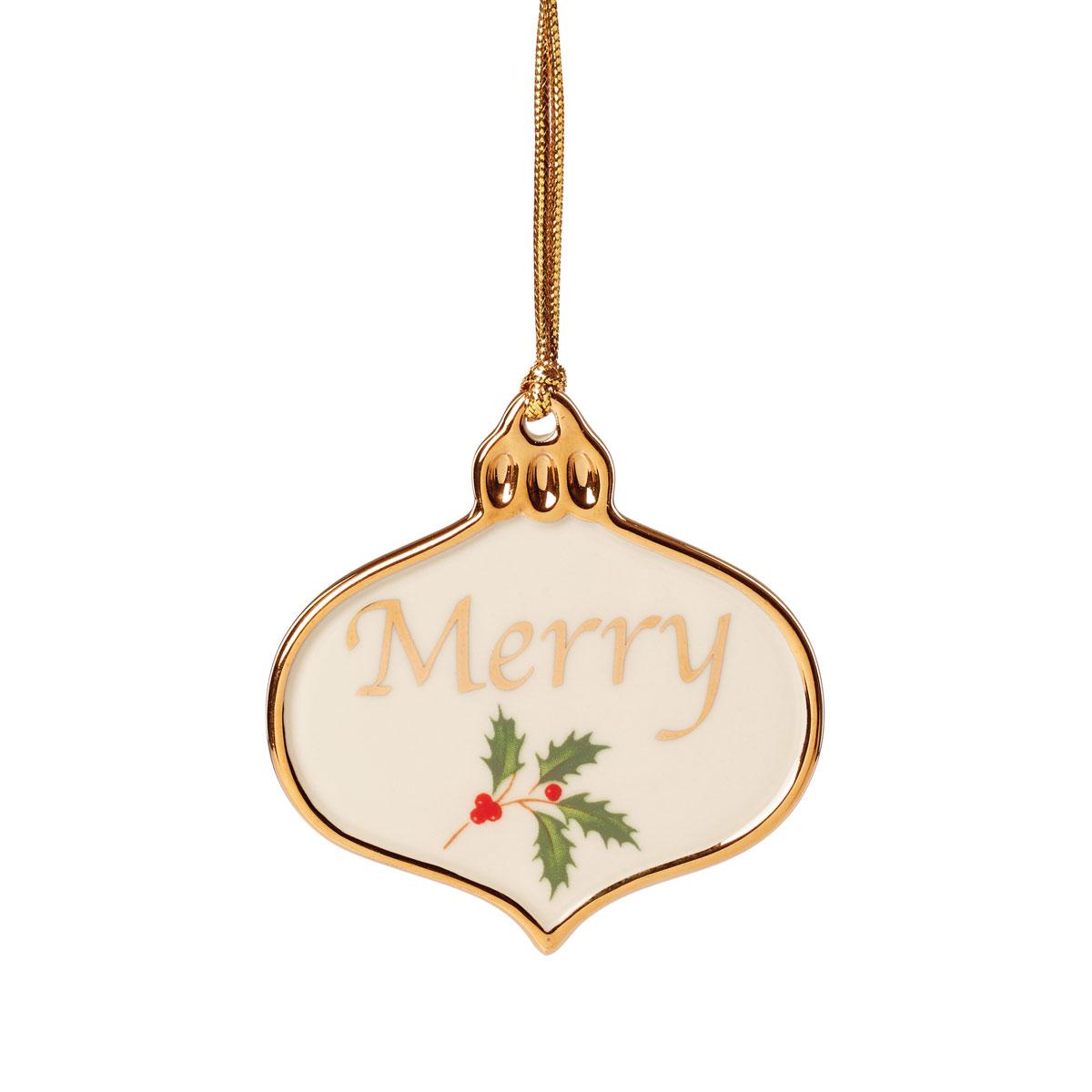 Lenox 2021 Holiday Sentiment Ornament Charm Merry