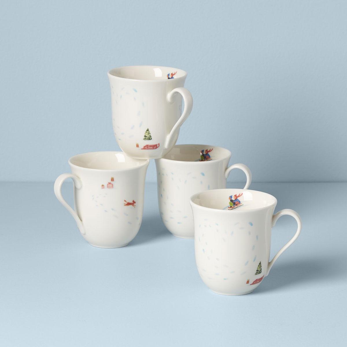 Lenox Profile Snow Day 4 Piece Mug Set