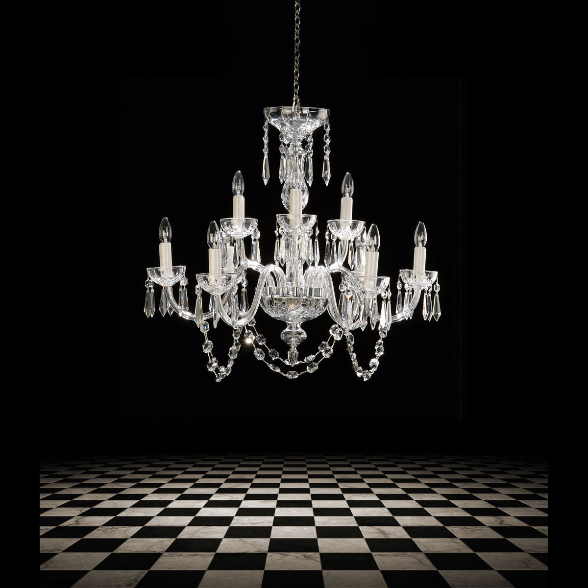 Waterford Crystal, Lismore 9 Arm Crystal Chandelier