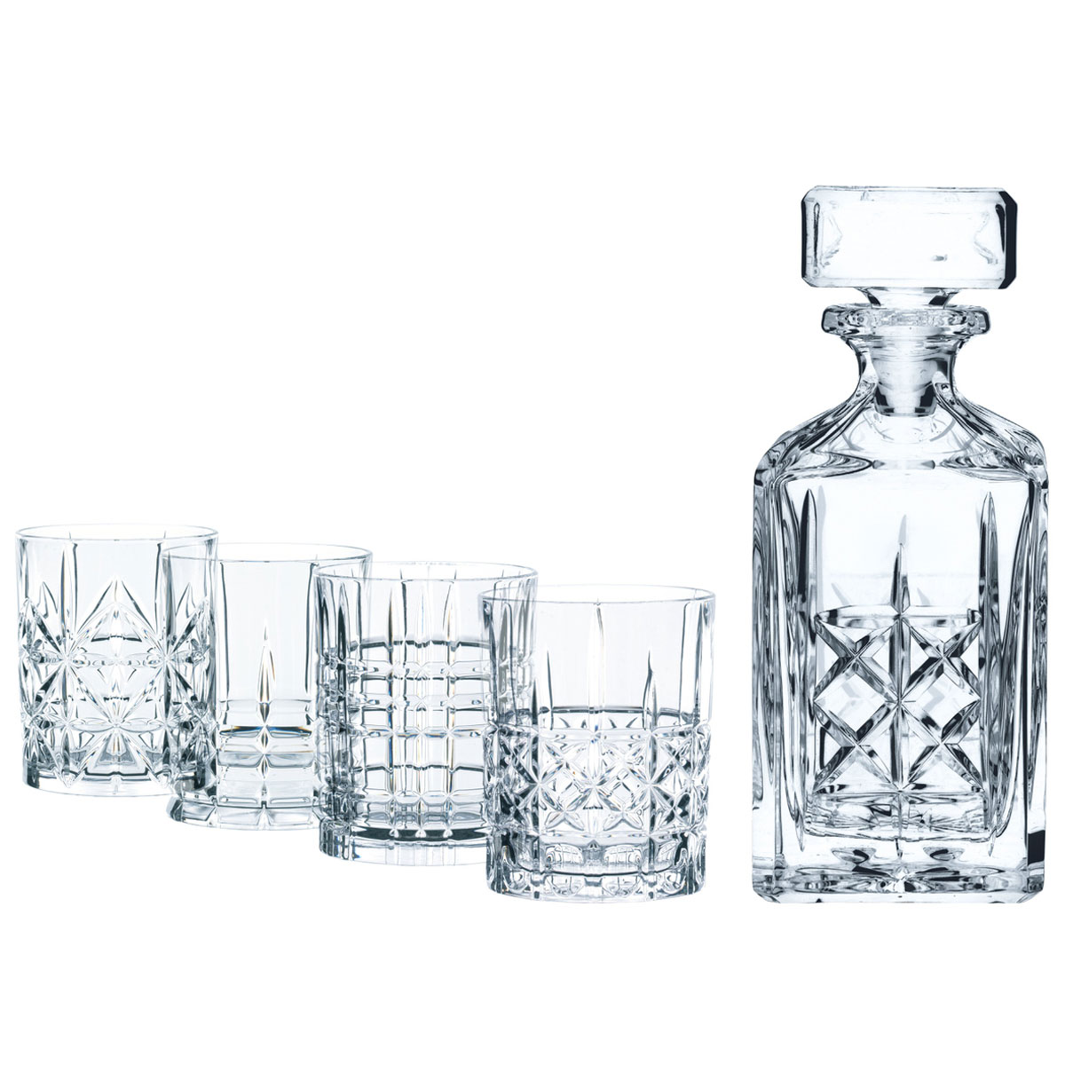 Nachtmann Highland Whiskey Decanter, 4 Whiskey Tumblers Set