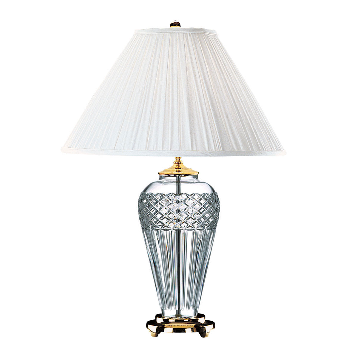 "Waterford Crystal, Belline Polished Brass 29"" Crystal Lamp"