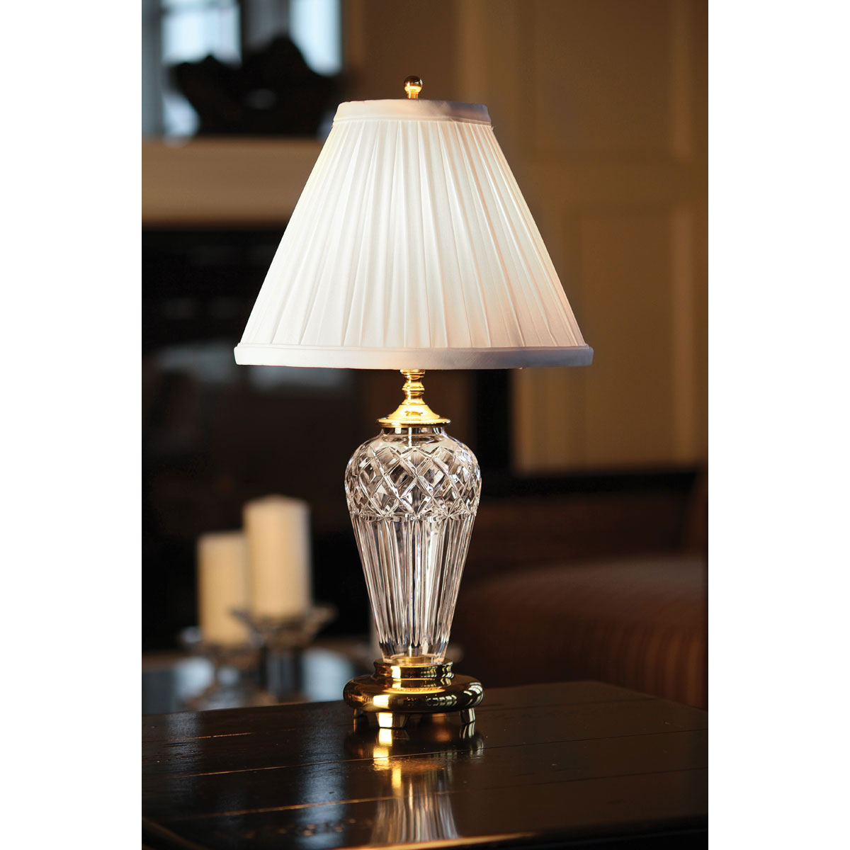 "Waterford Crystal, Belline Polished Brass 18"" Crystal Lamp"
