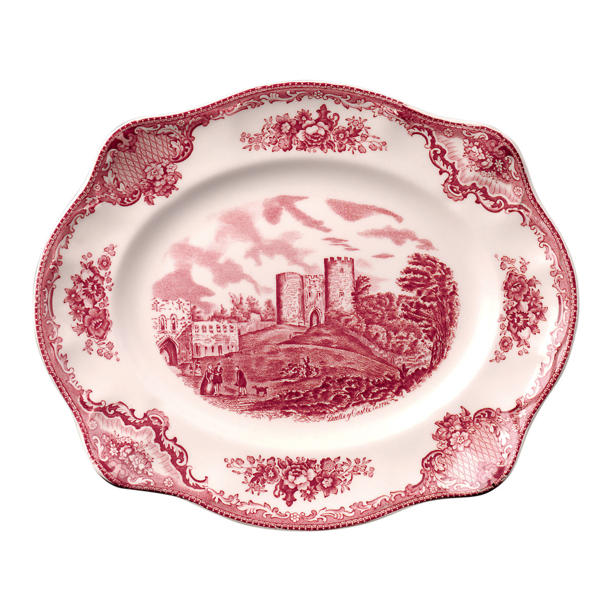 """Johnson Brothers Old Britain Castles Pink 12"""" Scalloped Platter, Single"""