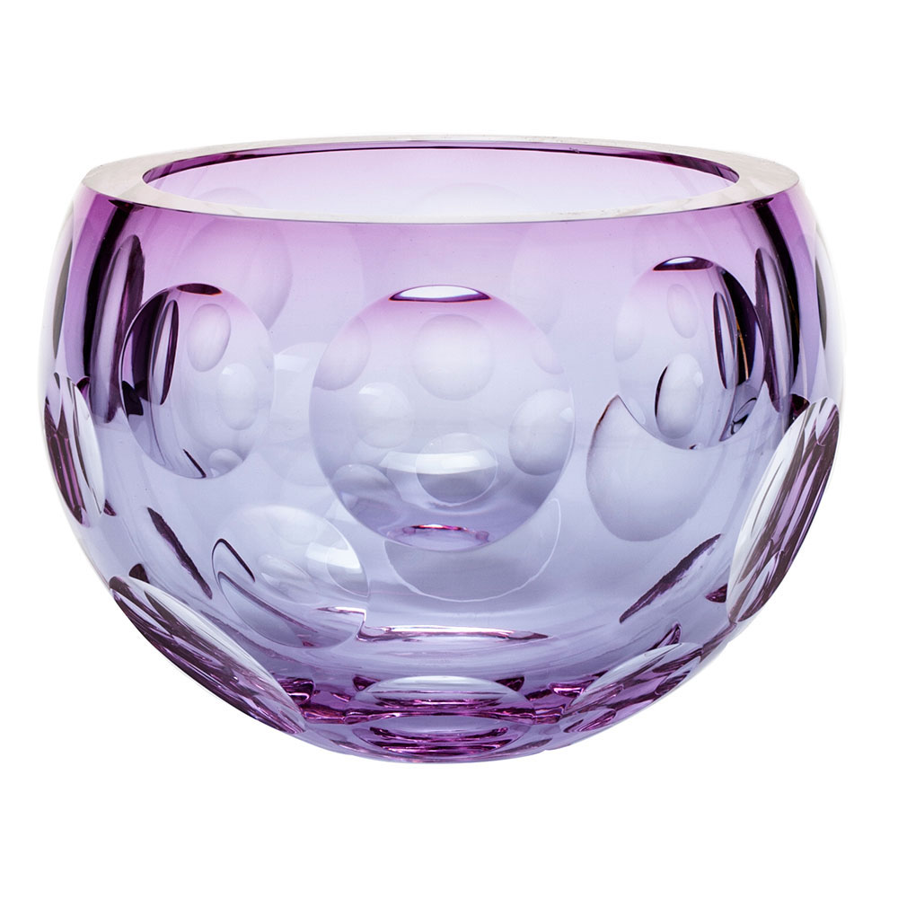 """Moser Crystal Bubbles Bowl 9.8"""" Alexandrite and Rose"""