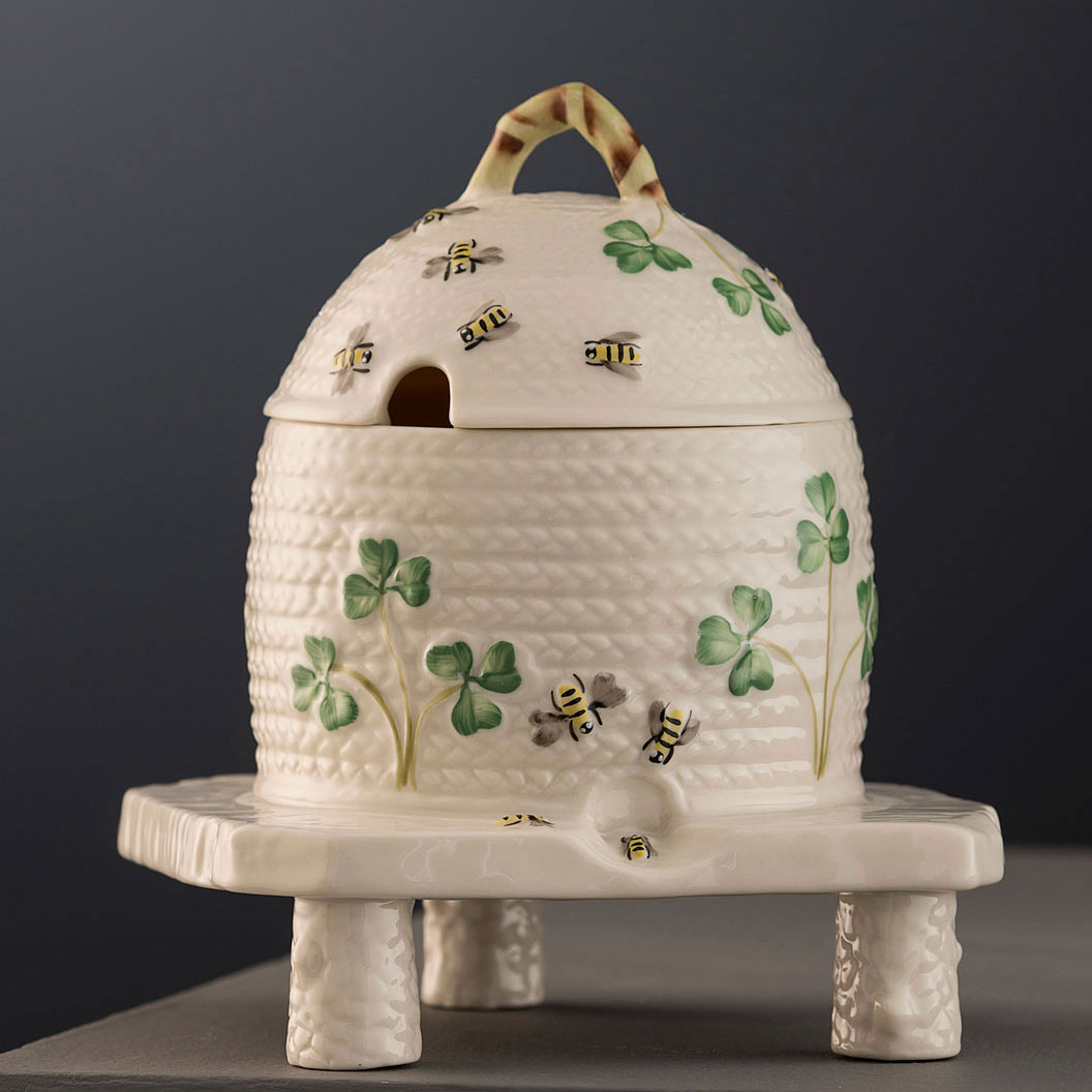 Belleek Masterpiece Collection Shamrock Honey Pot and Stand, Limited Edition