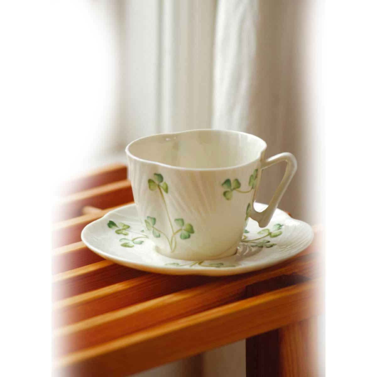 Belleek China Harp Shamrock Teacup and Saucer
