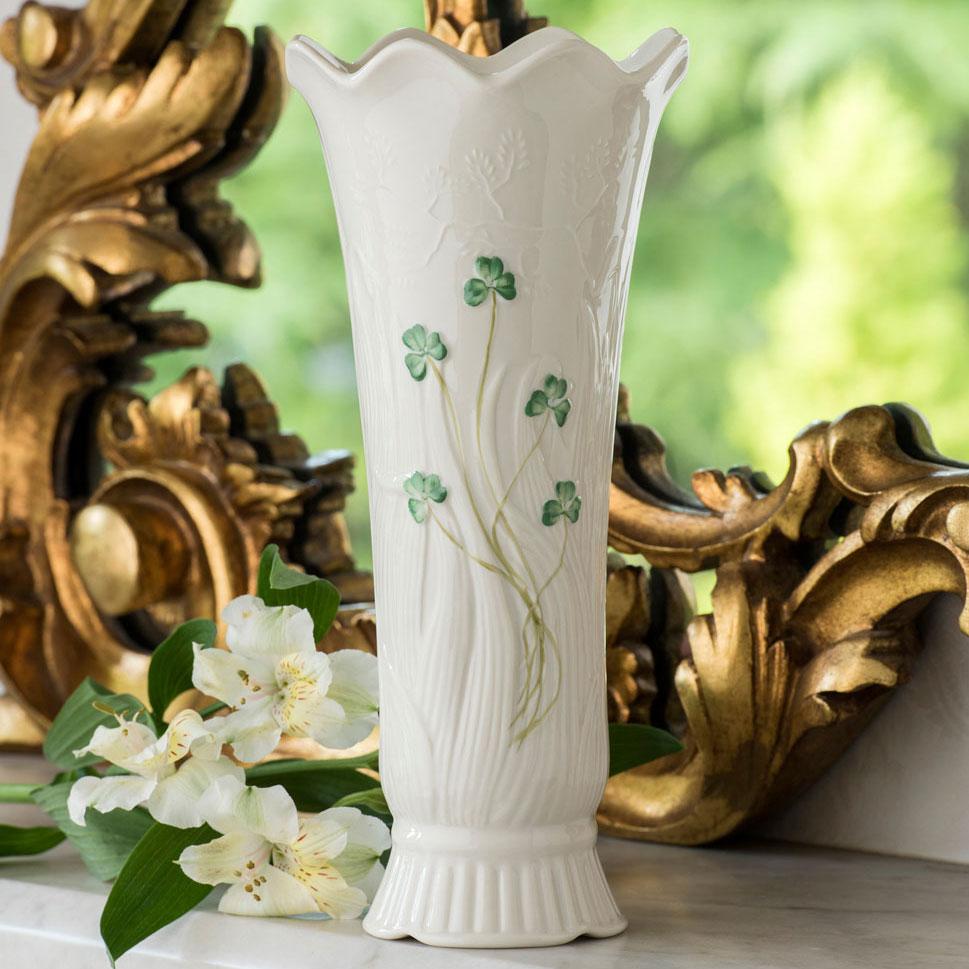 "Belleek Woodland Shamrock 10"" Vase"