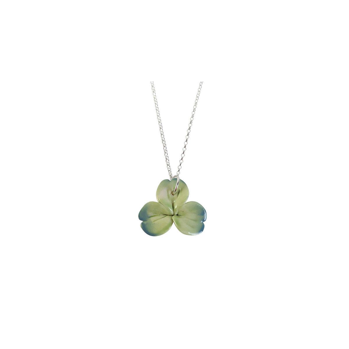 Belleek Porcelain Jewelry Shamrock Necklace Green