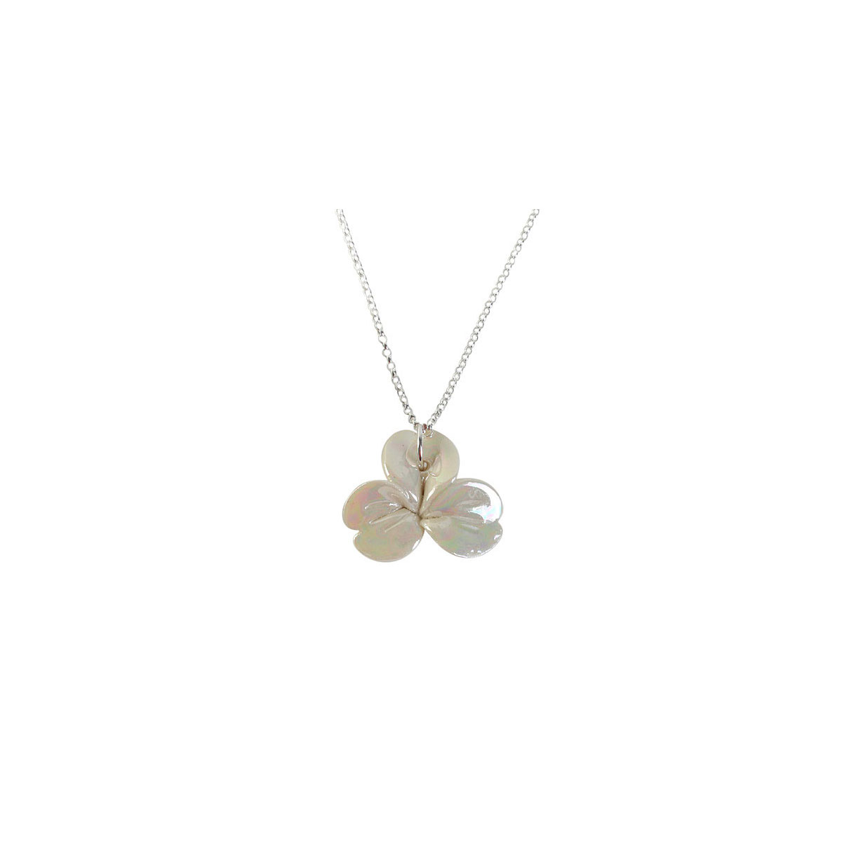 Belleek Porcelain Jewelry Shamrock Necklace Mother of Pearl