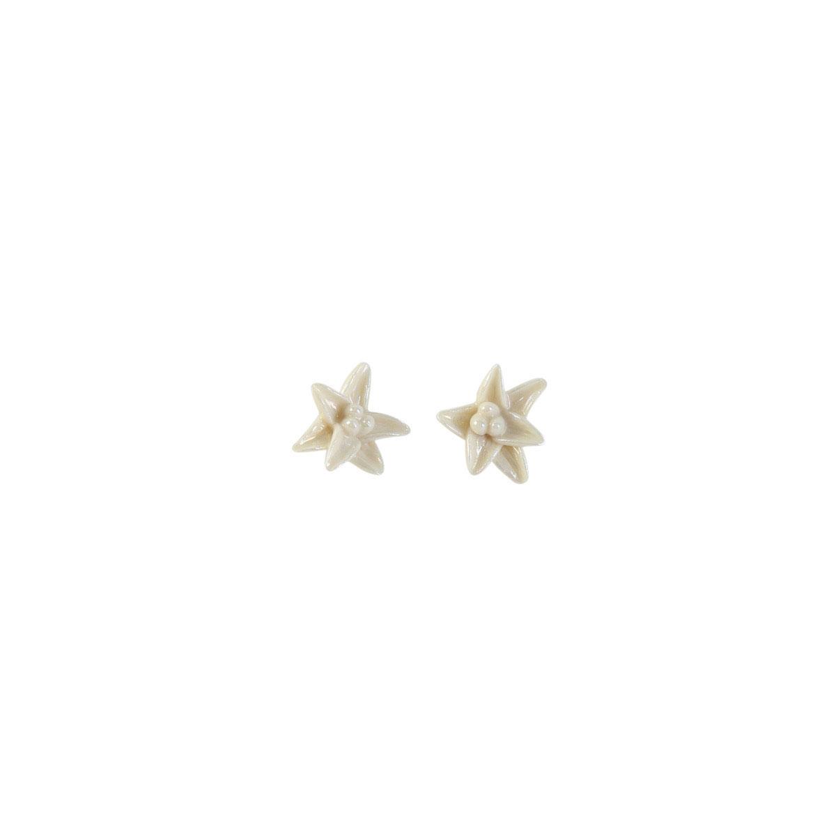 Belleek Porcelain Jewelry Freesia Earrings Mother of Pearl, Pair