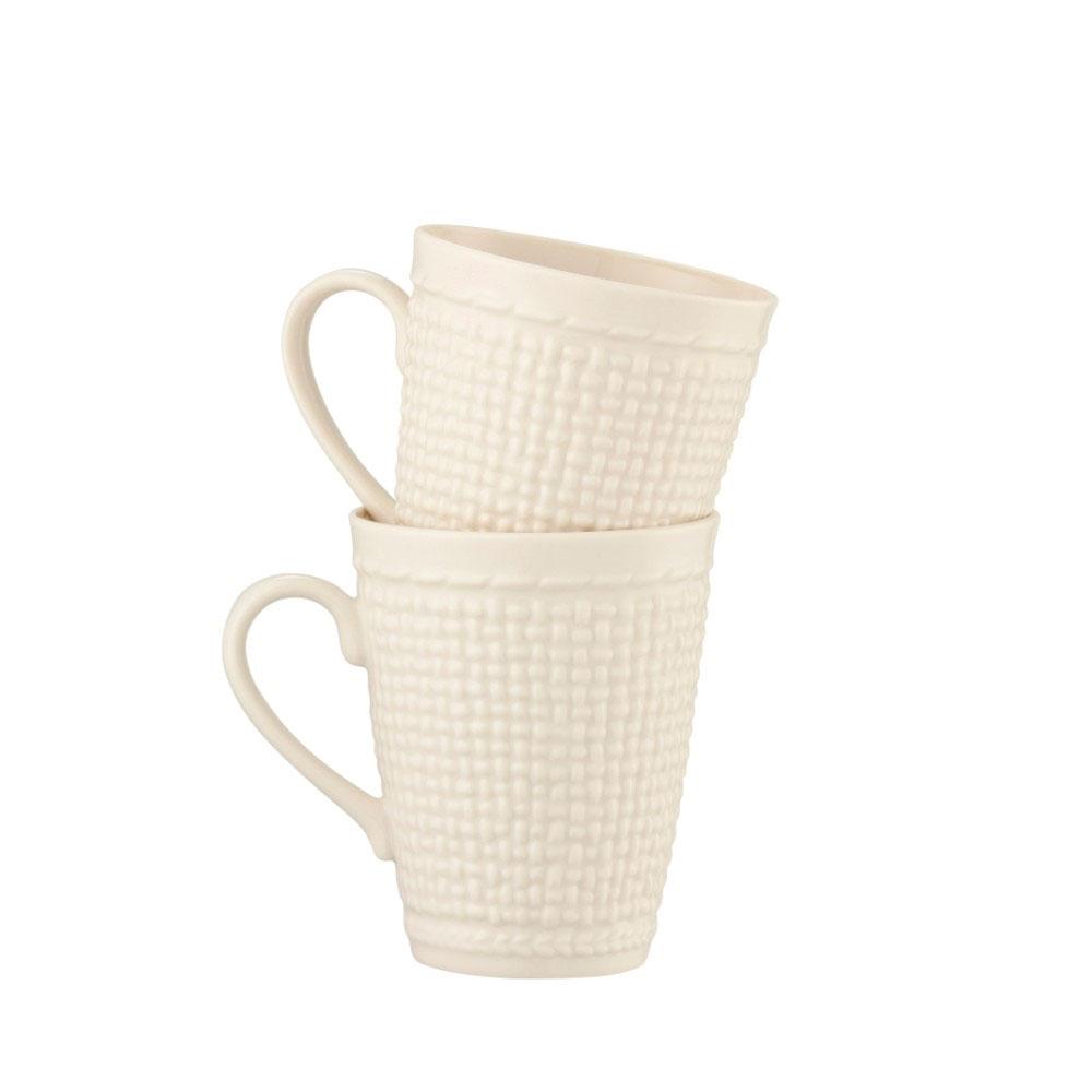 Belleek China Galway Weave Mugs, Pair
