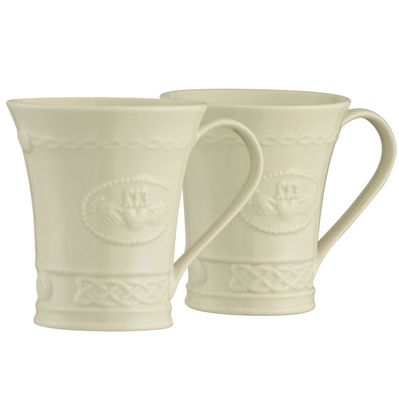 Belleek China Claddagh Mugs, Pair