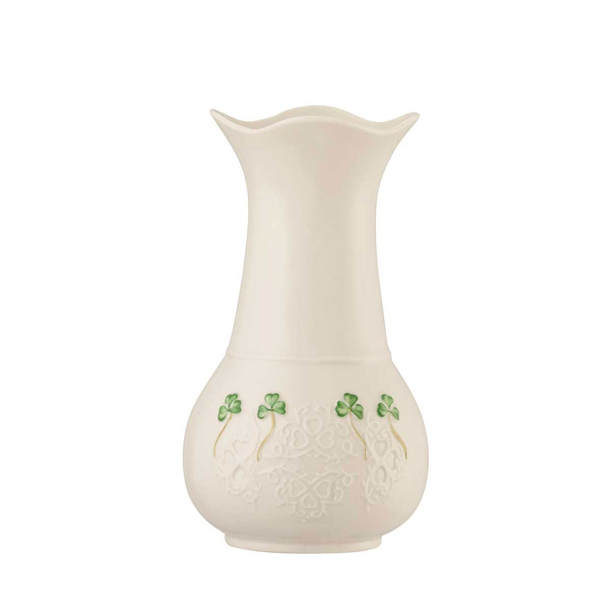 "Belleek China Shamrock Lace 7"" Vase"