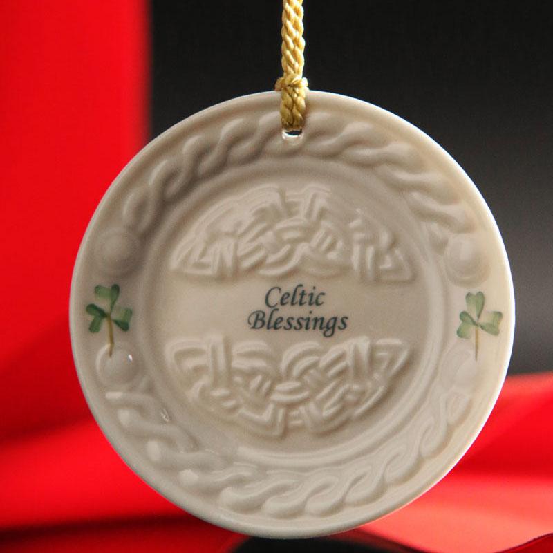 Belleek China Celtic Blessing Ornament