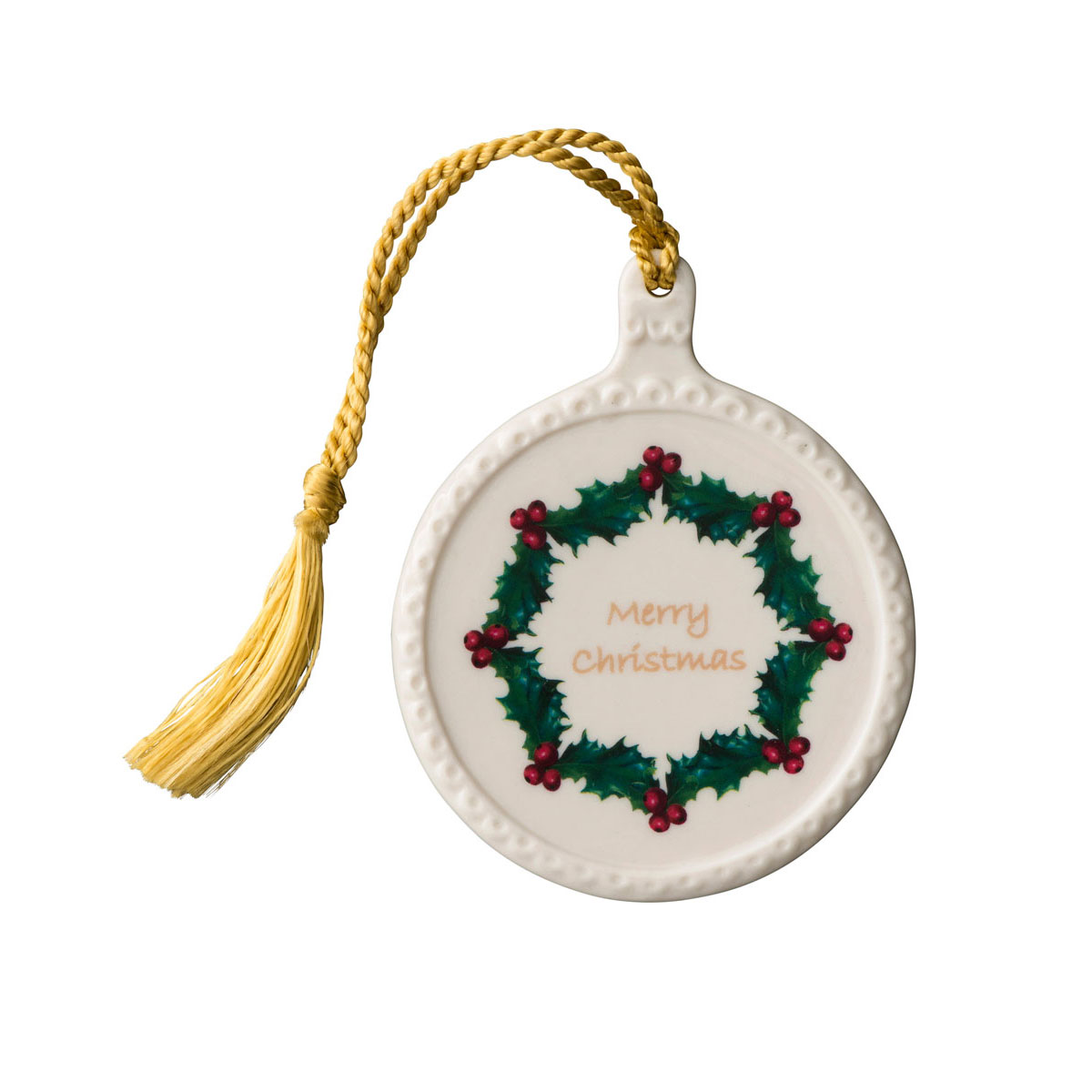Belleek Merry Christmas Ornament