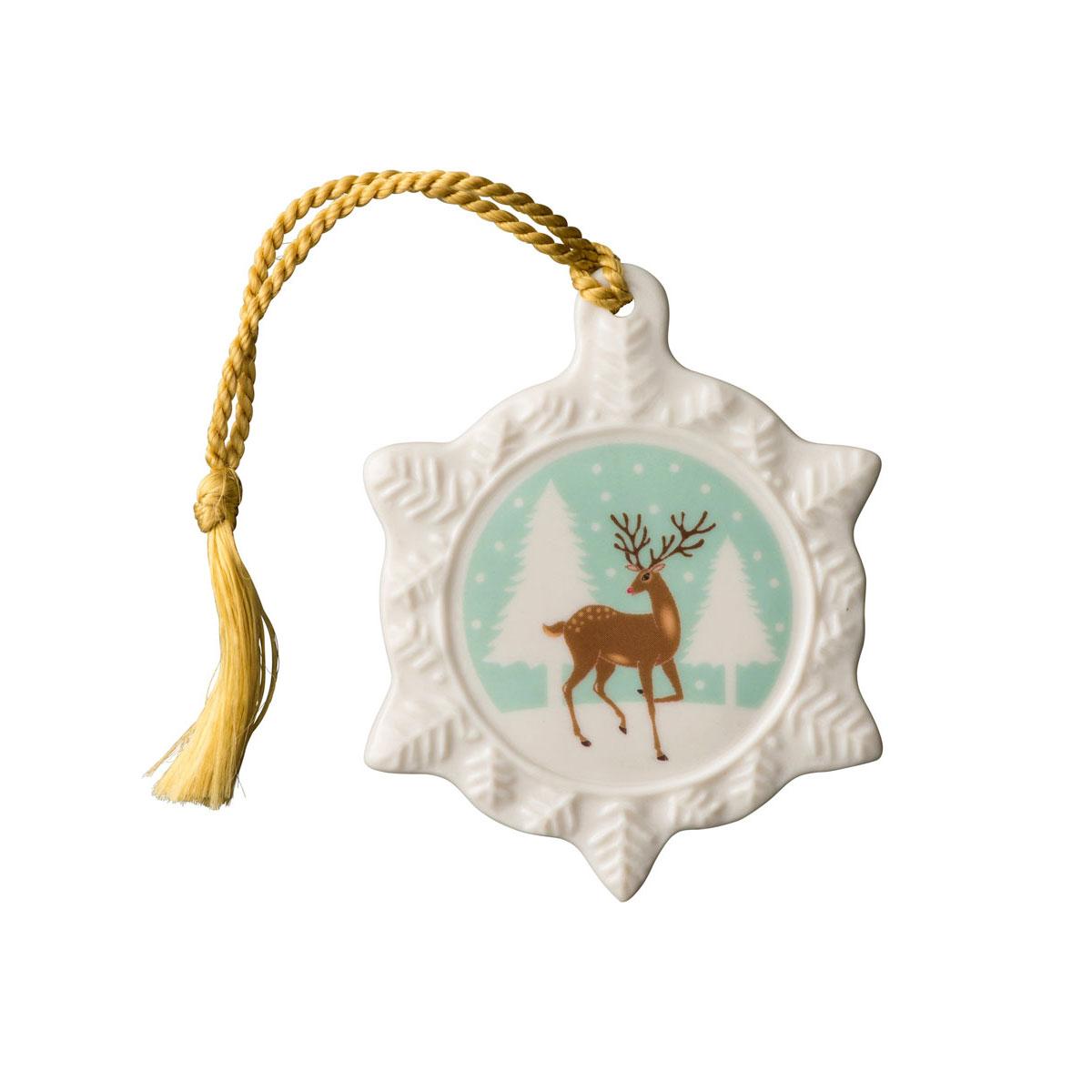 Belleek Reindeer Snowflake Ornament