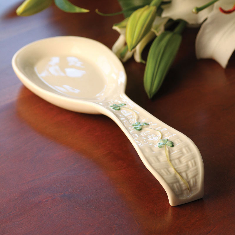 Belleek China Handled Shamrock Spoon Rest
