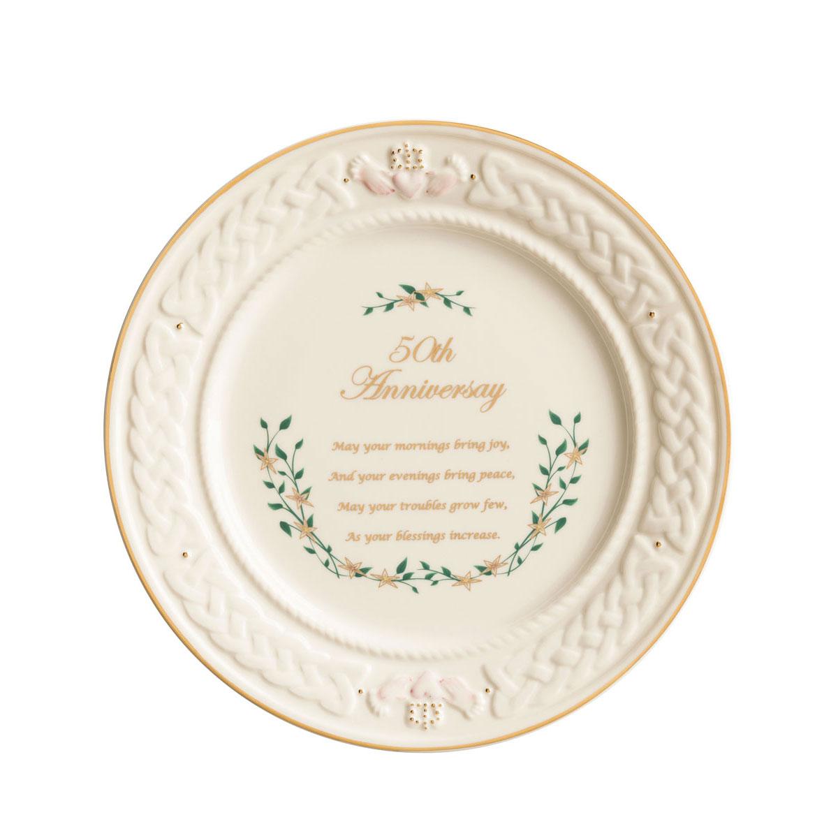 Belleek Celebration 50th Anniversary Plate