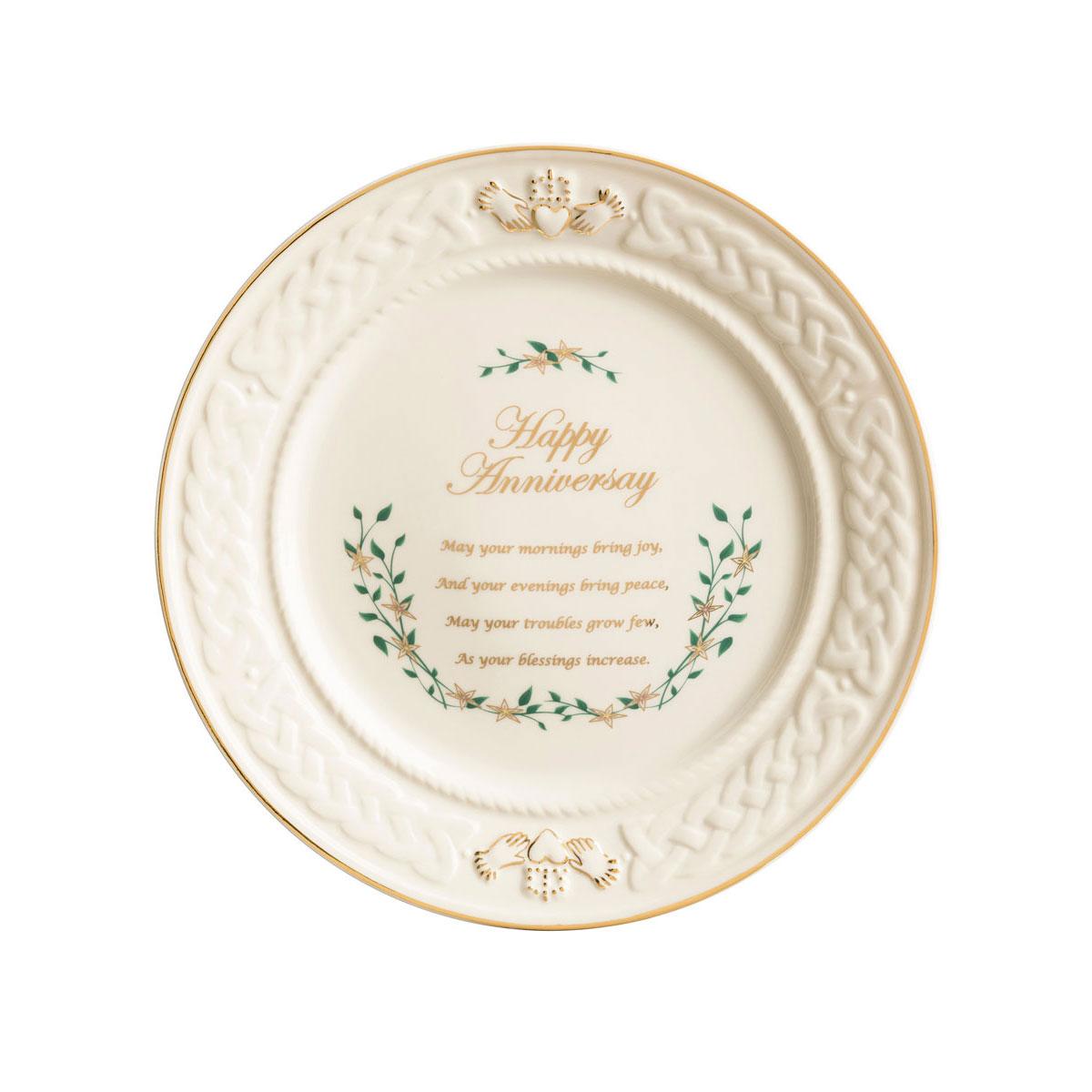 Belleek China Celebration Happy Anniversary Plate