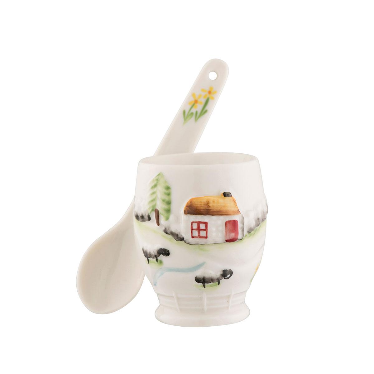 Belleek Connemara Egg Cup and Spoon