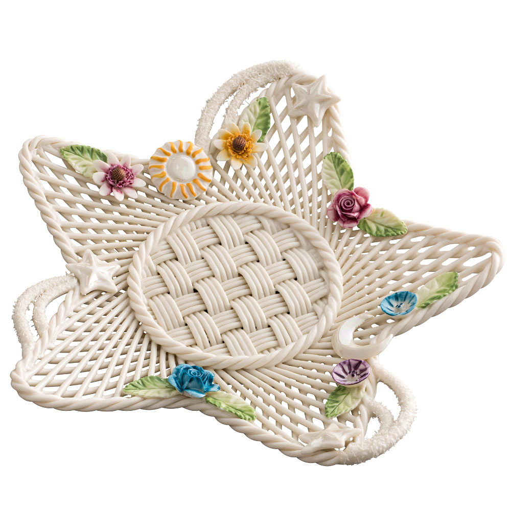 small trinket bowl hand woven basket with decorative cross.htm belleek masterpiece collection celestial annual basket 2019  collection celestial annual basket