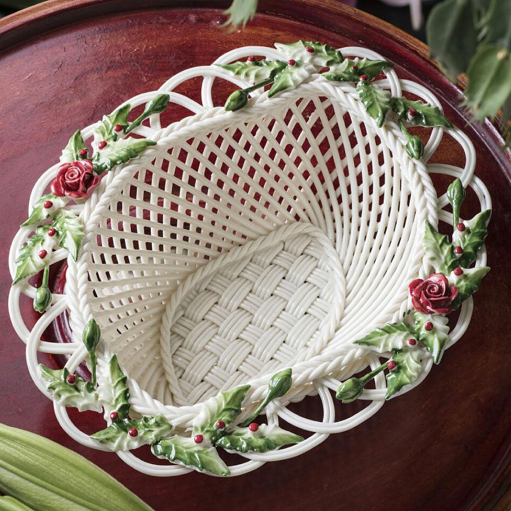 Belleek Living Winter Flowers Basket