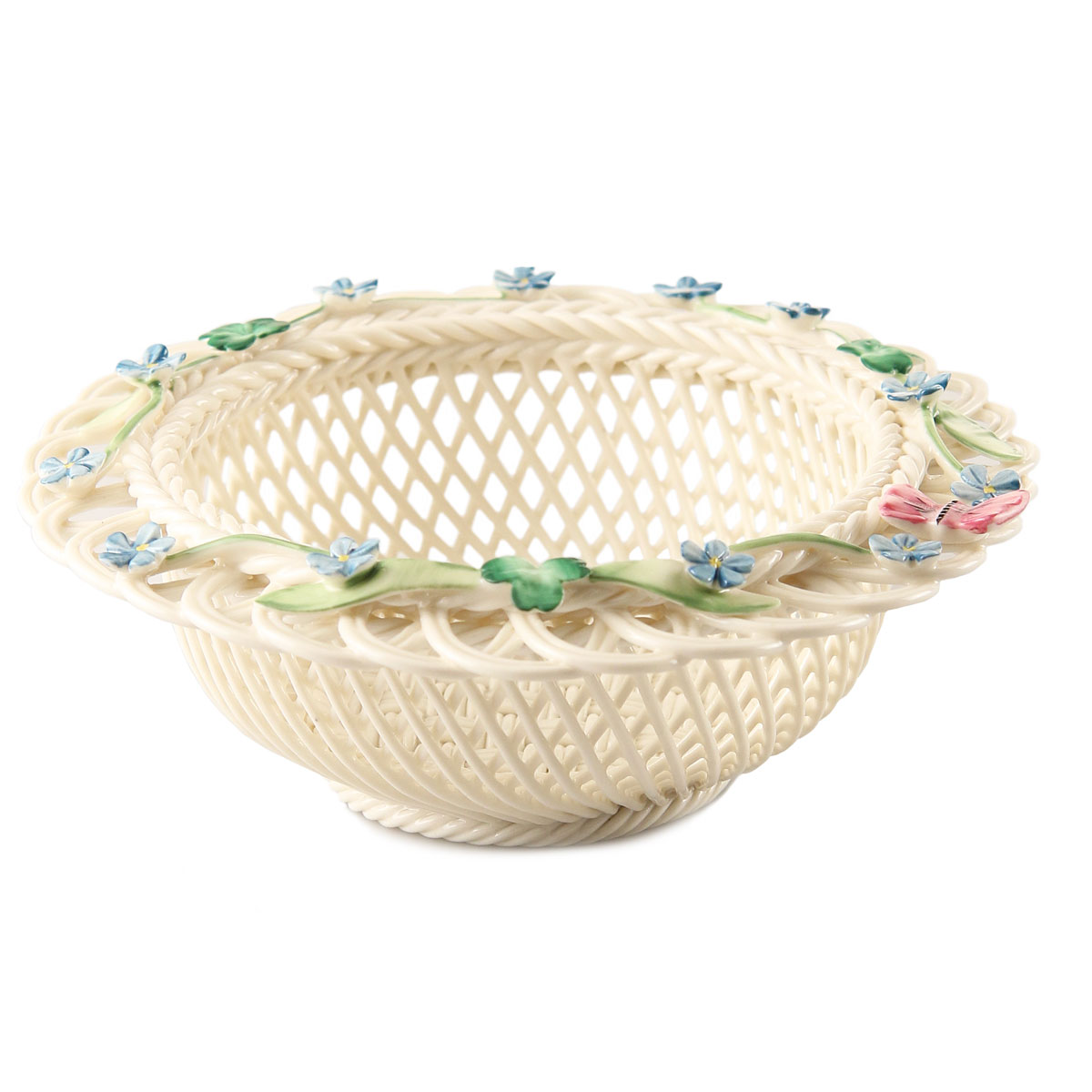 Belleek China Forget Me Not Basket, Limited Edition
