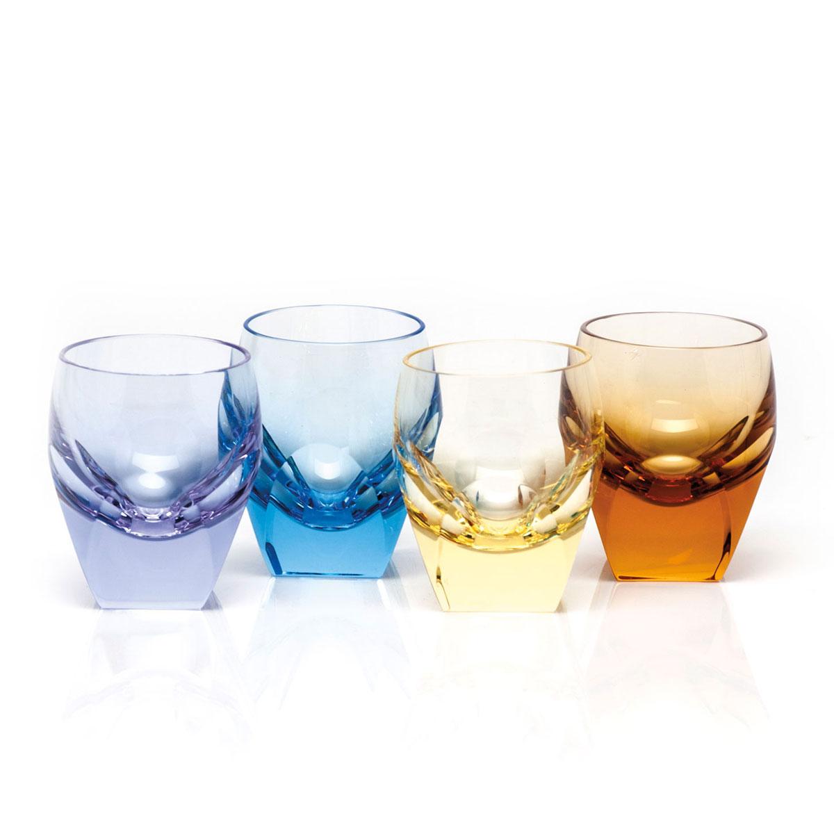 Moser Crystal Bar Shot Glass 1.5 Oz. Set of 4 Multicolor
