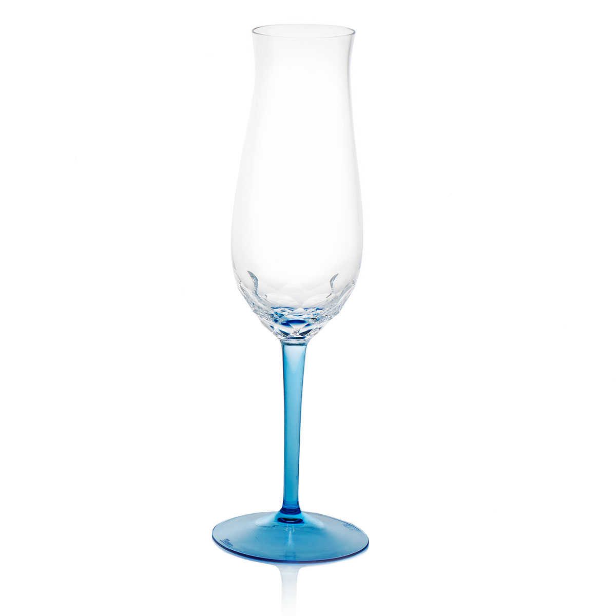 Moser Butterfly Champagne Flute Clear Aquamarine, Single