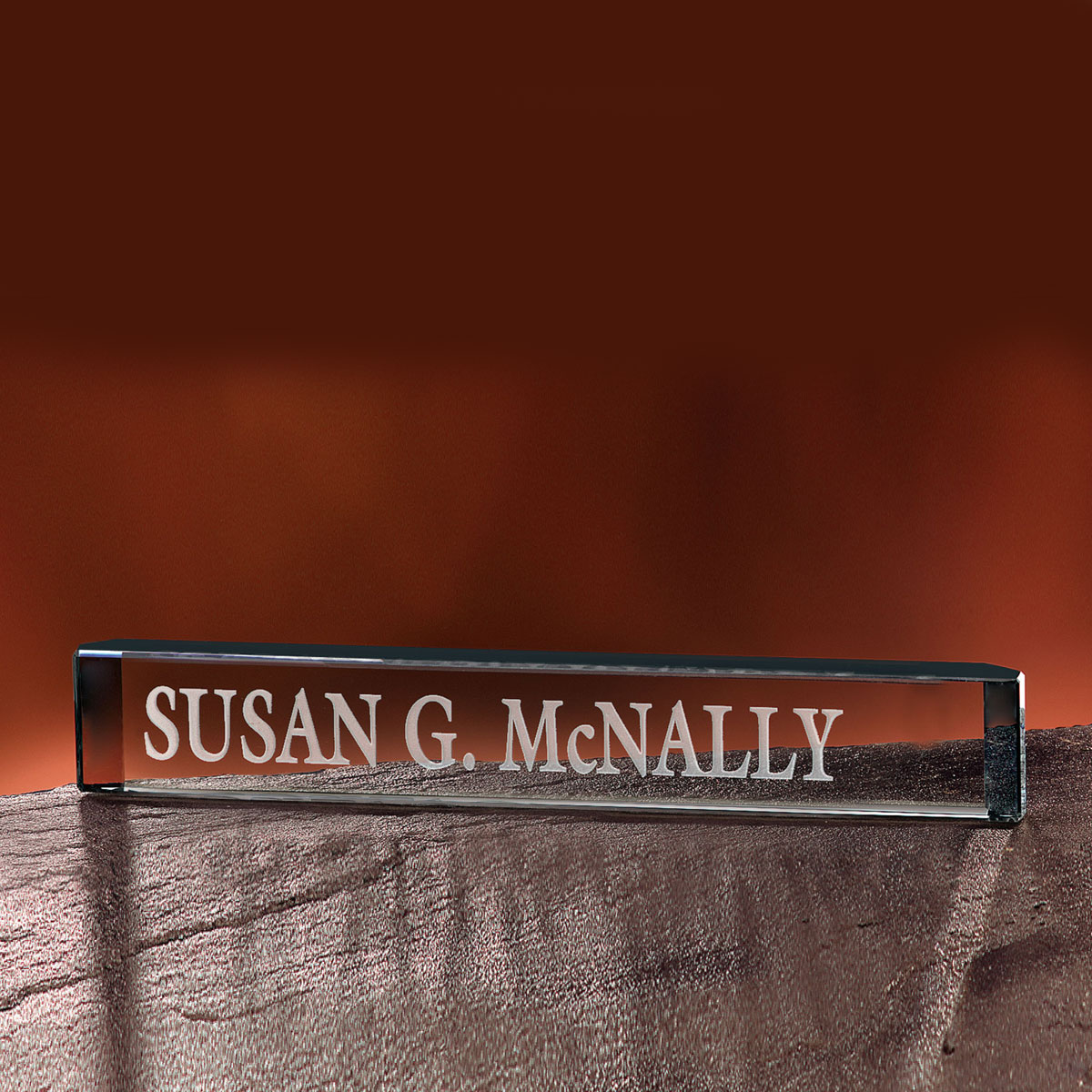 """Crystal Blanc, Personalize! 12"""" Crystal Nameplate"""
