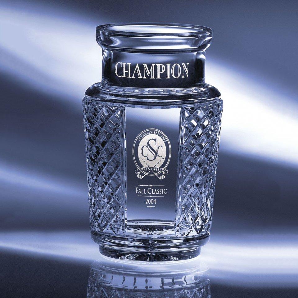 "Crystal Blanc, Personalize! Palmetto Crystal Vase 8"""