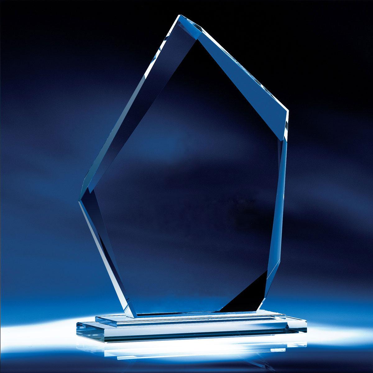"Crystal Blanc, Personalize! 8"" Crystal Jade Summit Award"